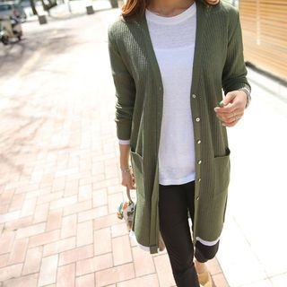 V-Neck Ribbed Long Cardigan 1059709314
