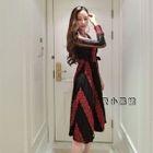 V-Neck Crochet-Trim Lace-Panel Midi Dress 1596