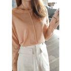 Drop-Shoulder Seam-Trim Knit Top 1596