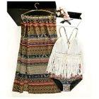 Set: Patterned Bikini + Midi Skirt + Cover-Up 1596