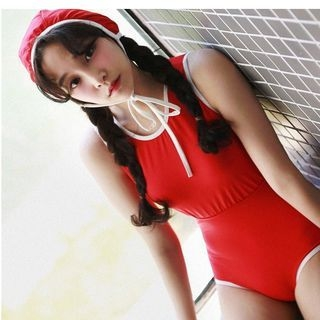 Piped Swimsuit with Swim Cap 1060409768