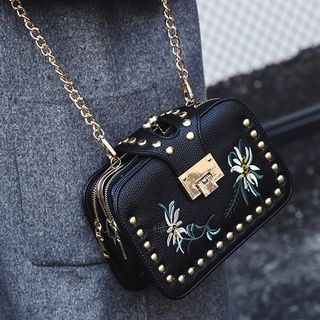 Flower Embroidered Studded Chain Strap Crossbody Bag
