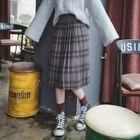 Plaid Accordion Pleated Midi Skirt 1596