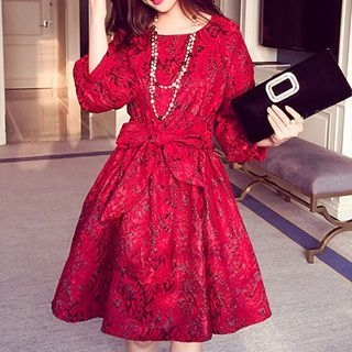 Lace Trim 3/4 Sleeve A-Line Dress 1052920831
