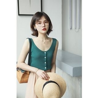 Sleeveless Buttoned Knit Top 1061044212