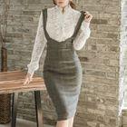 Lace Blouse / Suspender Pencil Skirt 1596