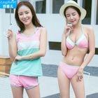 Set: Color panel Bikini + Tank Top + Swim Shorts 1596