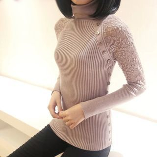 Turtleneck Lace Panel Ribbed Sweater 1060191423