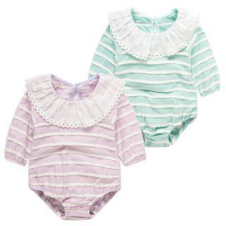 Baby Collared Stripe Long-Sleeve Bodysuit