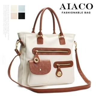 Buy AIACO Contrast-Trim Tote with Cross Strap 1022777129