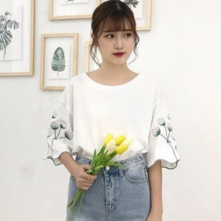 Elbow-Sleeve Embroidered T-Shirt 1061411767