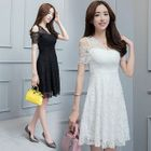 Short-Sleeve Lace Panel A-line Dress 1596