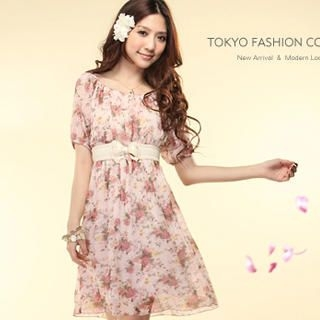 Buy Tokyo Fashion Bow Accent Floral Chiffon Dress 1022860185