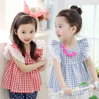 Kids Sleeveless Ruffle Check Dress 1596
