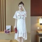 Short-Sleeve Maternity Lace Dress 1596