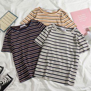 Short-sleeve   Vintage   T-Shirt   Stripe
