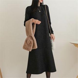 Ruffle-hem Long Pullover Dress