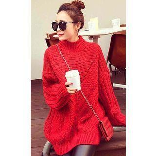 Mock Neck Ribbed Sweater 1061634973