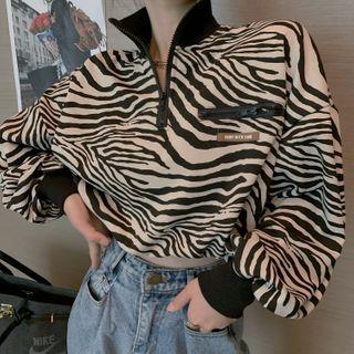 Zebra Crop Pullover Zebra Printed - Black & White - One Size