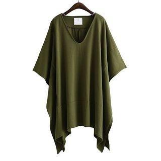 V-Neck Elbow-Sleeve T-Shirt 1060280654