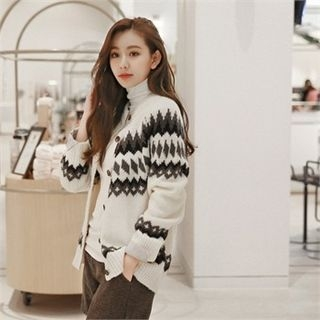 Round-Neck Patterned Cardigan 1063801163