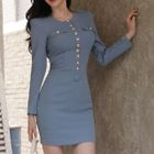 Buttoned Zip-Back Sheath Dress 1596