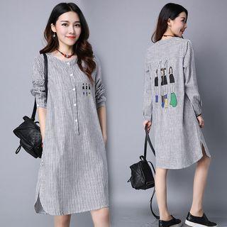 Image of Cartoon Print Striped Shirtdress