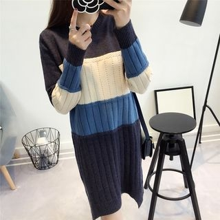 Color Block Ribbed Sweater Dress 1063354610