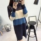 Color Block Ribbed Sweater Dress 1596