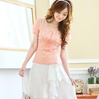 Buy Tokyo Fashion Puff-Sleeve Rhinestone Ruched Top 1023062774