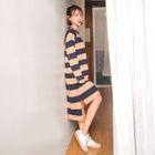 Raglan-Sleeve Dip-Back Stripe T-Shirt Dress 1596