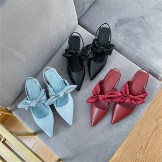Image of Block Heel Pointed Bow Slingback Mules