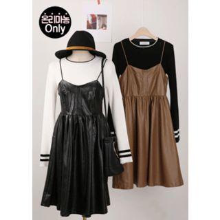 Spaghetti-Strap Faux-Leather A-Line Dress 1053800642