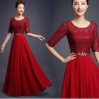 Elbow-Sleeve Pleated Evening Gown 1596