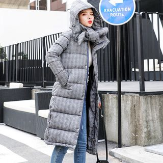 Image of Set: Plaid Hooded Padded Coat + Padded Scarf