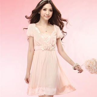 "Buy Tokyo Fashion Puff-Sleeve ""Rosette"" Chiffon Dress 1022996889"