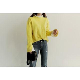 Round-Neck Slit-Sleeve Knit Top 1056899912