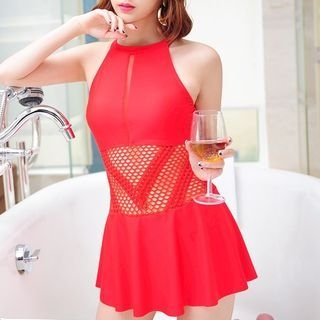 See-Through Panel Swimsuit 1064149094
