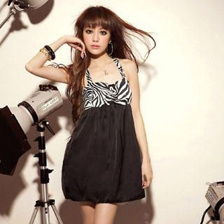 Picture of Sylvia Zebra Print Halter Dress Black - One Size 1022953228 (Sylvia Dresses, Womens Dresses, Taiwan Dresses)