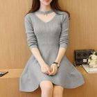 Cutout Long-Sleeve Knit Dress 1596