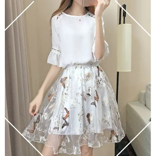 Chiffon   Blouse   Floral   Skirt