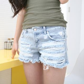 Queen's Look Distressed Denim Shorts 1022764365 | Womens Asian Pants