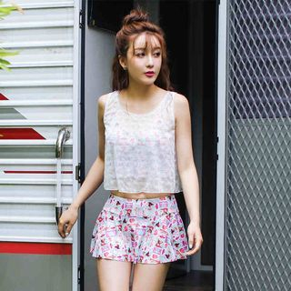 Set: Printed Swim Tank Top + Cover + Skirt 1051502375