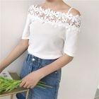 Open Shoulder Lace Panel Short-Sleeve Knit Top 1596