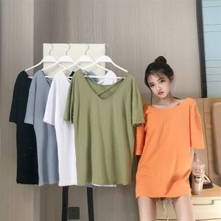 Image of Cross Strap Elbow-Sleeve T-Shirt