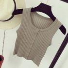 Buttoned Rib Knit Tank Top 1596