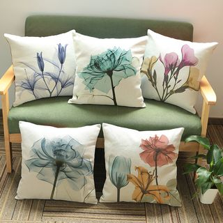 Image of Floral Printed Sofa Cushion Cover