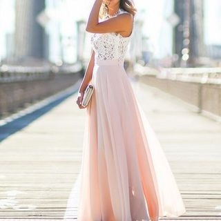 Lace-Panel Maxi Dress 1053627923