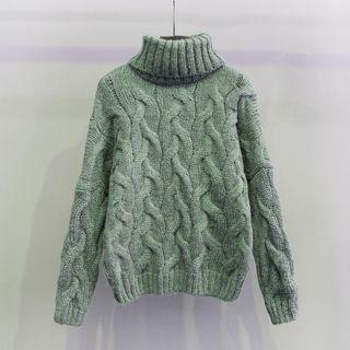 Turtleneck Ribbed Long-Sleeve Sweater 1063365359