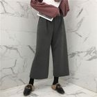 Plain Elastic-Waist Wide-Leg Pants 1596